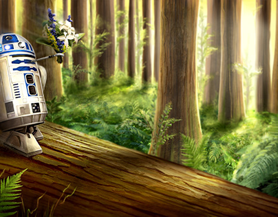 R2D2 transports flowers to Lea and Han Solo's wedding.