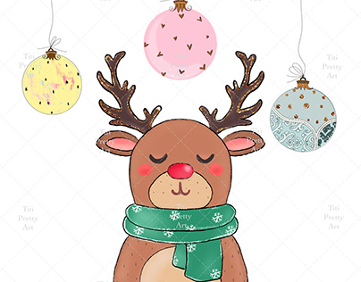 Cute Christmas Deer Sublimate Design PNG