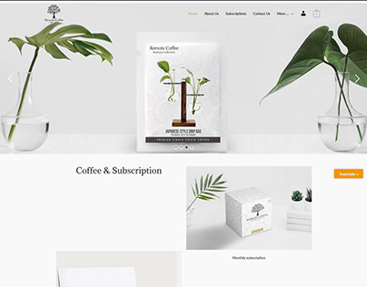 Remote Coffee E-commerce based landing page UI design