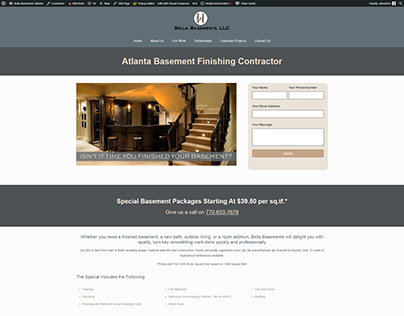 Ad Words Landing Page for Bella Basements
