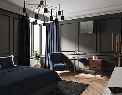 Bedroom in dark shades