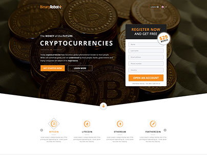 Cryptocurrencies Landing Page