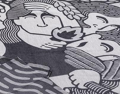 Textile illustration - Olympe