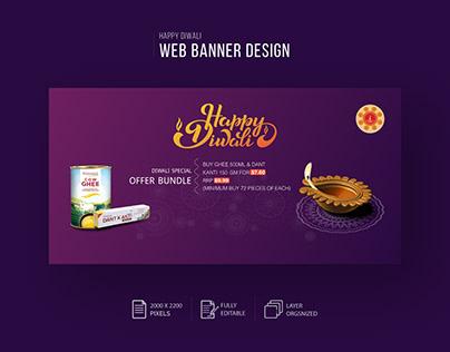 Happy Diwali Web Banner Design