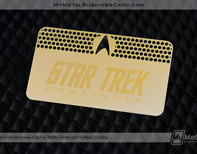 Star Trek Brass Finish Gold Metal Business Card