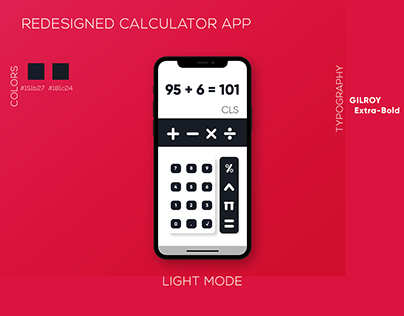 Redesigned basic Calculator App UI Concept