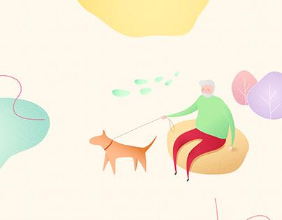 Illustrations for charity fund landing Makheev