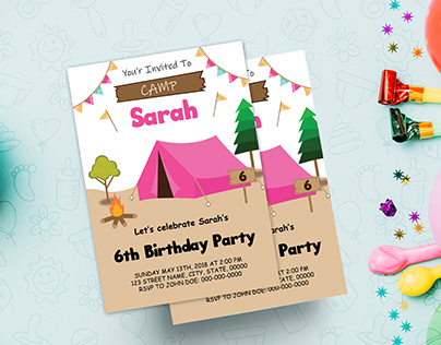 Pink Camping Tent Party Invitation