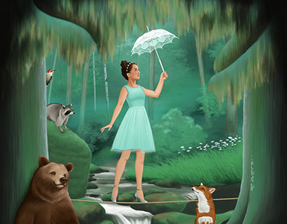 Young girl with parasol walks a tightrope