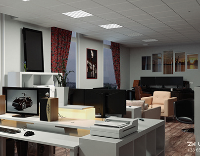 Photorealistic studio interior 3D visualization