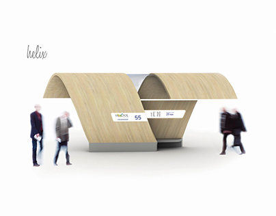 Helix - Bus stop shelter. Designed for Ericpol Company.