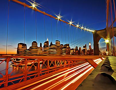 illustration of bridge and night city