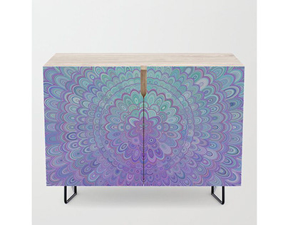 Mandala Flower in Light Blue and Purple Credenza