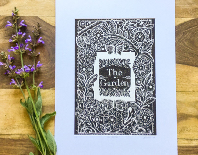 The Garden lino cut print