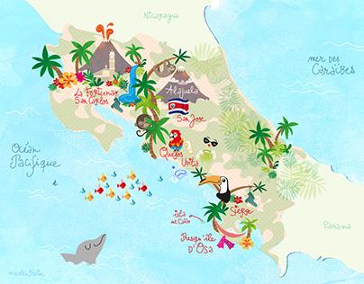 Carte illustrée du Costa RIca