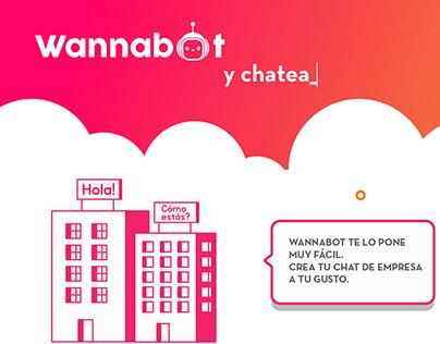 Infografía de funcionamiento y logotipo de Wanabot