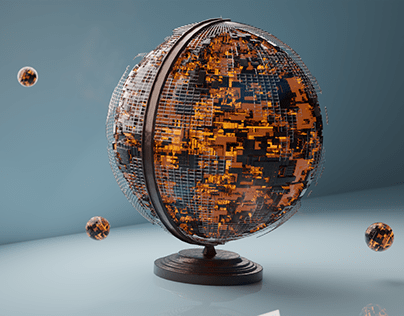 Beautiful Sci-Fi Globe rendered using blender