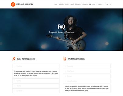 FAQ Page - Music WordPress Theme