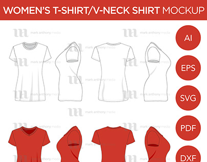 Women's T-Shirt and V-Neck - Vector Template Mockup