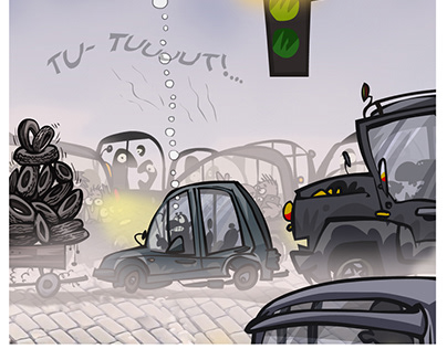 Traffic jam in the smog.