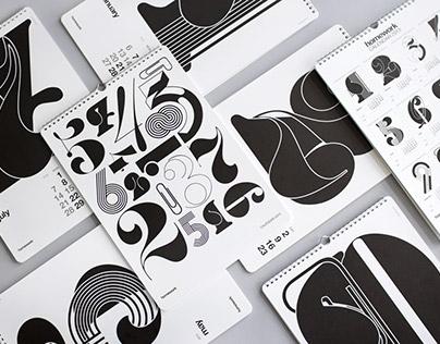 Typographic calendars for A.P.J. (Art Print Japan)