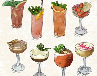 Illustrations for Manna la Roosa's cocktail menu