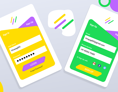Creative, Colorful Mobile Login & Registration UI/UX