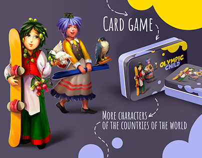 Olympic child. Card game Illustration