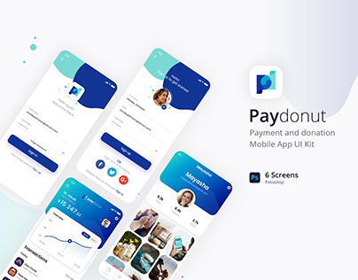 Paydonut - Payment and donation Mobile App UI Kit