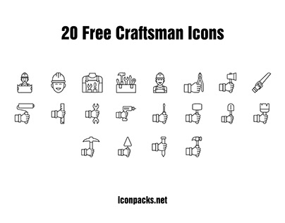 20 Free Craftsman Outline PNG, SVG icons