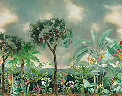"Wallpaper ""Tropic forest"". Size 405*270cm. 150 dpi."