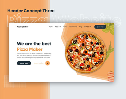 Pizza Website | Header Concept Three
