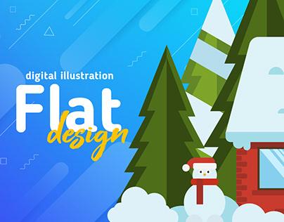 Flat Design Winter Digital Illustration