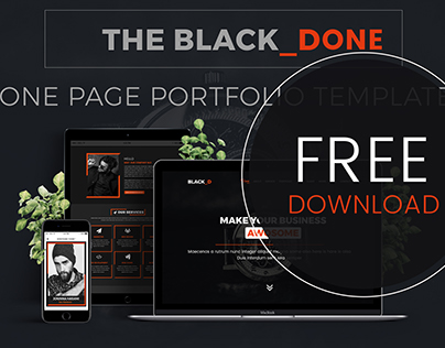 The Black_DONE- One Page Portfolio Template | FREEBIE