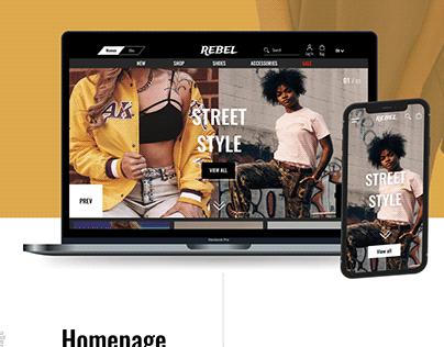 Rebel || Online clothing store || UI/UX design
