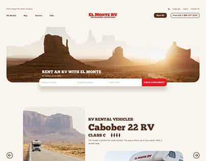 Website Concept Design for RV Rental Business in USA