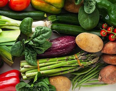 banner of varied colored fresh vegetables. Delivery