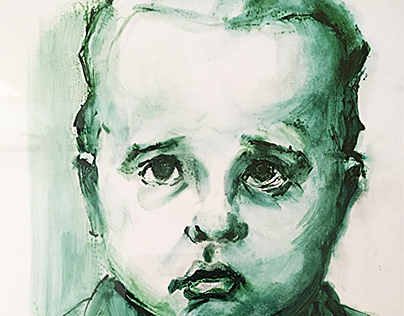 Portrait of a child, drawing, tempera, 2020