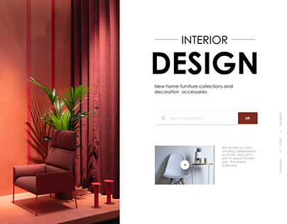 landing page for an interior design company