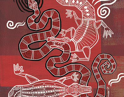 Illustrations stylized as Aboriginal art