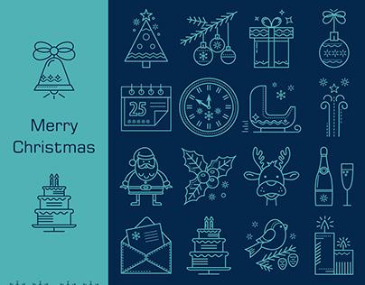 Christmas icons line