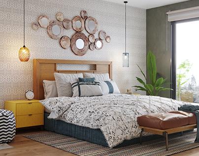 Boho bedroom and bath