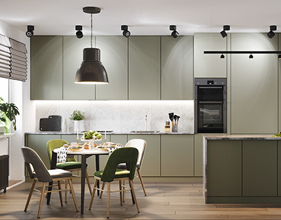 INTERIOR WITH DUSTY GREEN KITCHEN