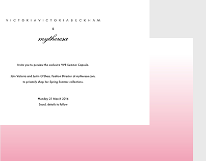 Victoria Beckham -  Collection launch invitation, Seoul