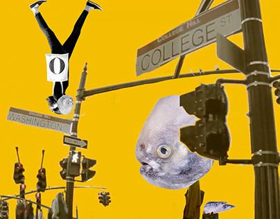 Étranger - Mémoire de poisson Collage d'art
