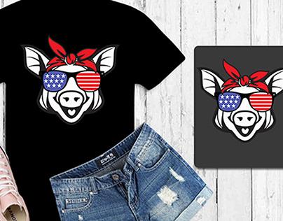 funny pig bandana art independent day shirt design