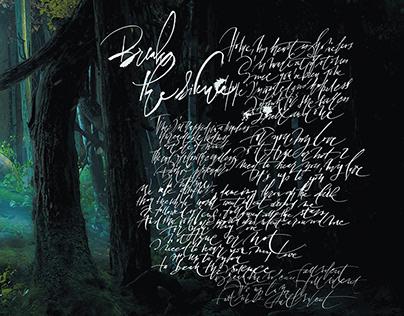 My calligraphy in the Seven Lions vinyl brochure.