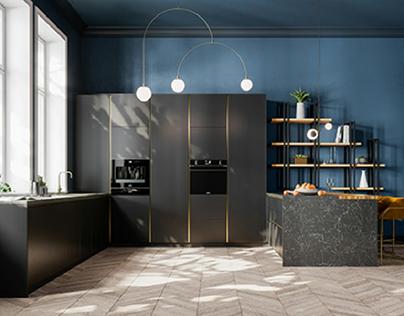 Mid Century Modern Kitchen CGI