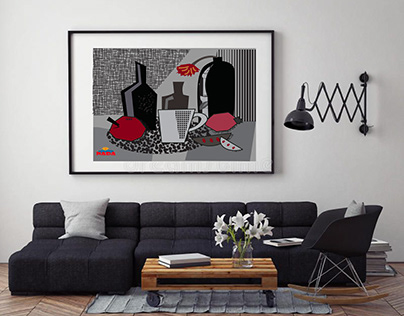 Abstract illustration mural