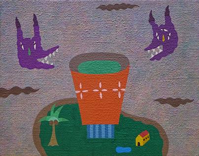 """湯のみ島と悪魔の呪い。 """"Tea cup Island and the Devil's curse."""""""